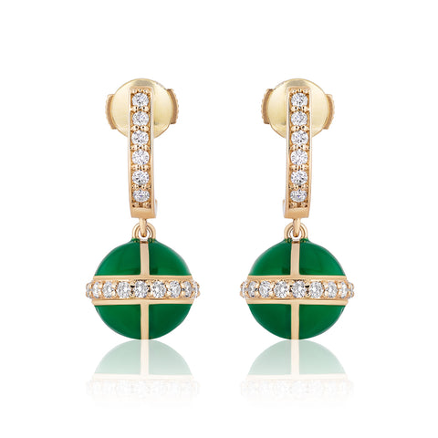 Rising Canopus Drop Earrings with Diamonds (Green)