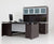 U-SHAPED ESPRESSO DESK WITH FILE PEDESTAL AND HUTCH