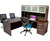 L Shaped Desk with File Pedestal and Hutch - Dark Teak
