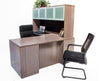 L Shaped Desk with File Pedestal and Hutch - Driftwood