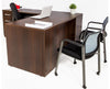 L Shaped Desk with File Pedestal - Dark Teak