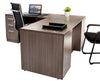 L Shaped Desk with File Pedestal - Driftwood