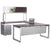 Options Desk with Bridge, Return, Credenza and Overhead Storage