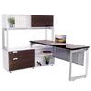 Options Straight Desk with Low Credenza and Overhead Storage - New Life Office