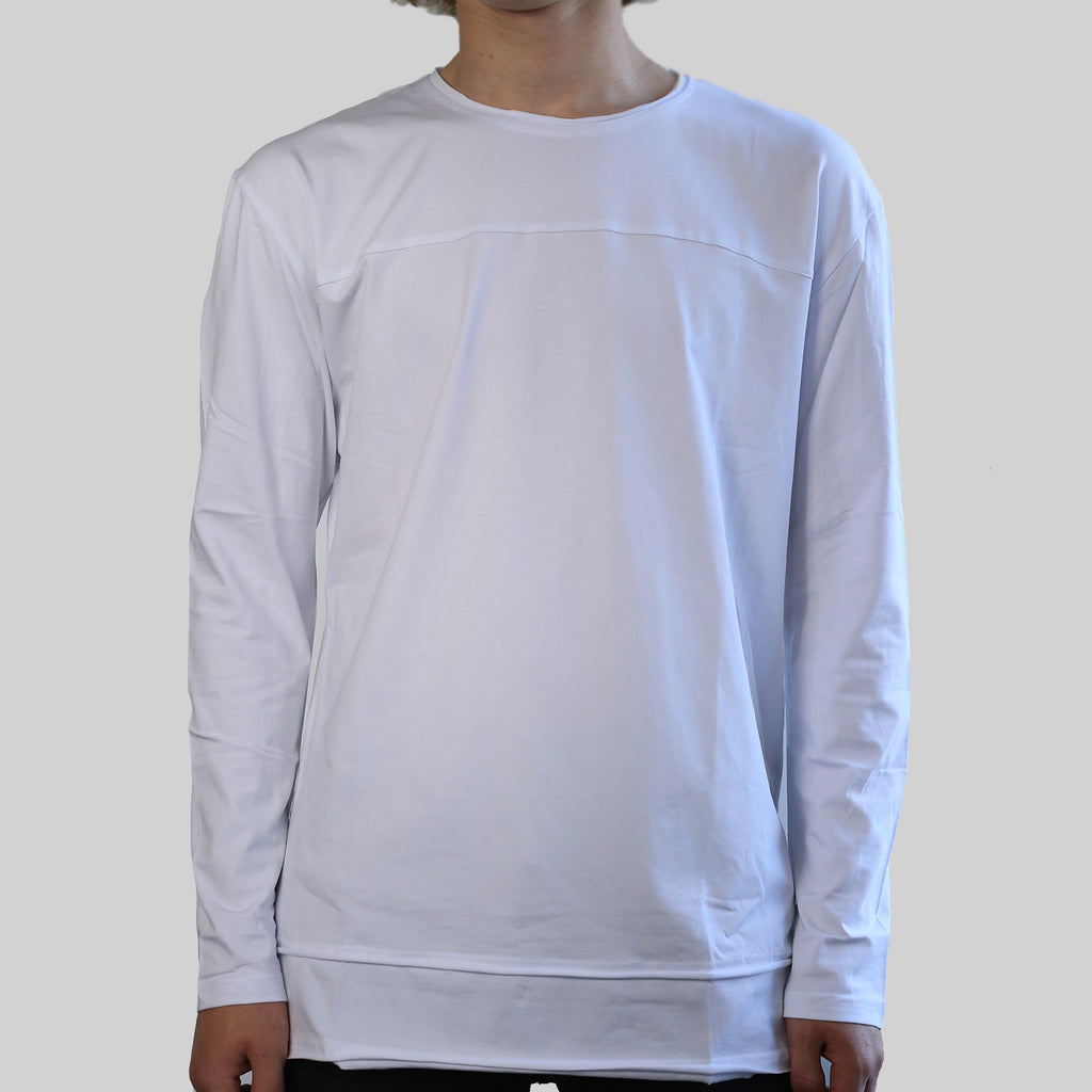 LONG SLEEVE DROP TEE (WHITE)