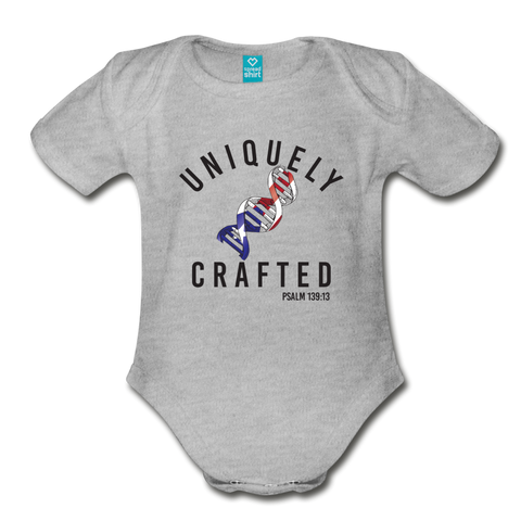 Uniquely Crafted Organic Short Sleeve Baby Bodysuit - PUERTO RICO - Everything Psalms