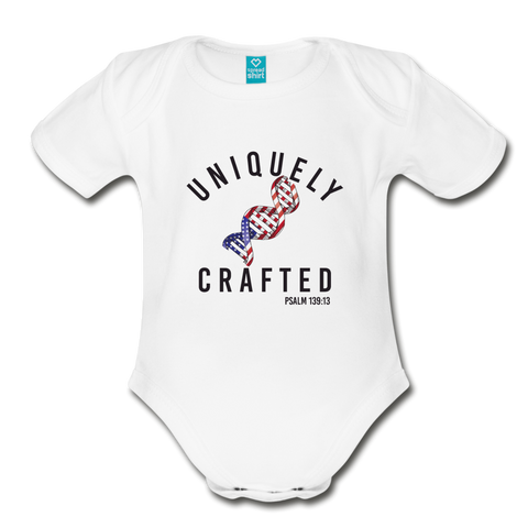 Uniquely Crafted Organic Short Sleeve Baby Bodysuit - USA - Everything Psalms