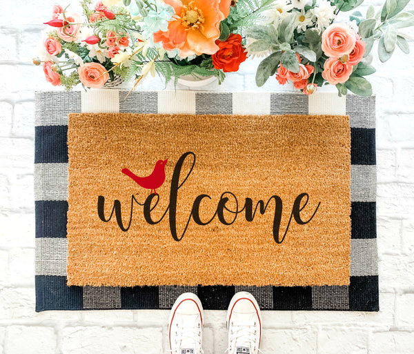 Red Bird Welcome Mat