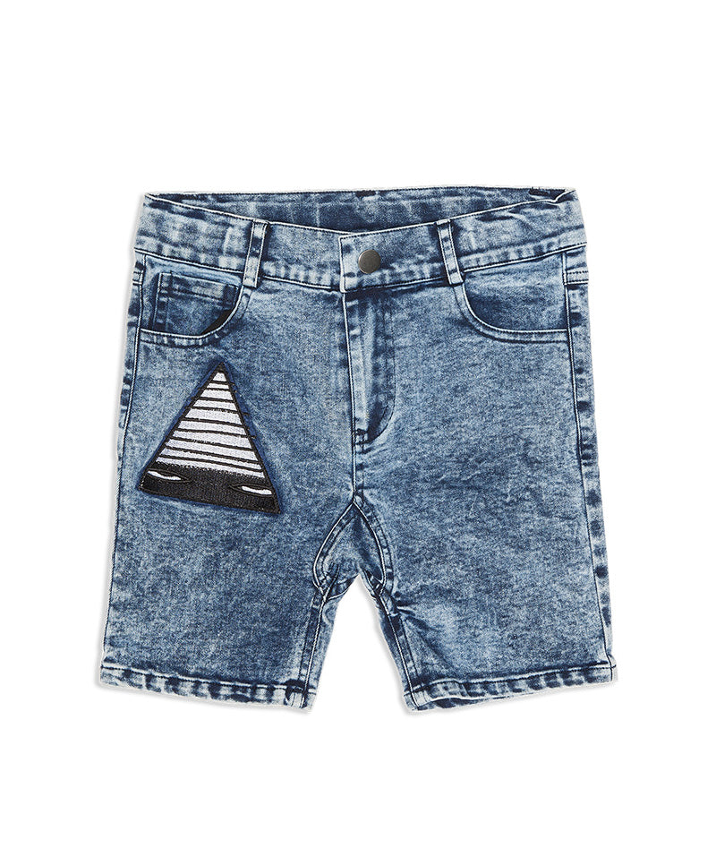 Just A Triangle Patch Denim Shorts