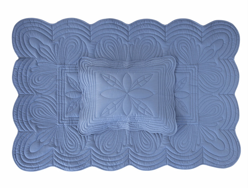 Single Bedspread Quilt and Pillow Set - Denim