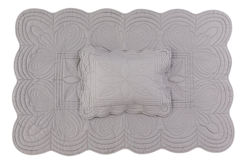 Cot Quilt and Pillow Set - Elephant Grey