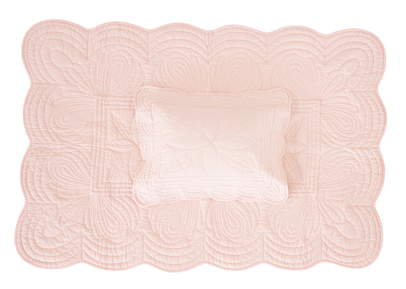 Cot Quilt and Pillow Set - Shell Pink