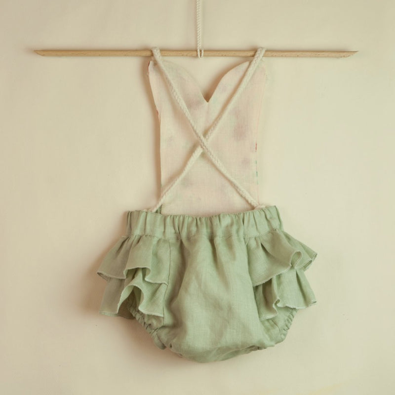 Green Romper Suit With Frill