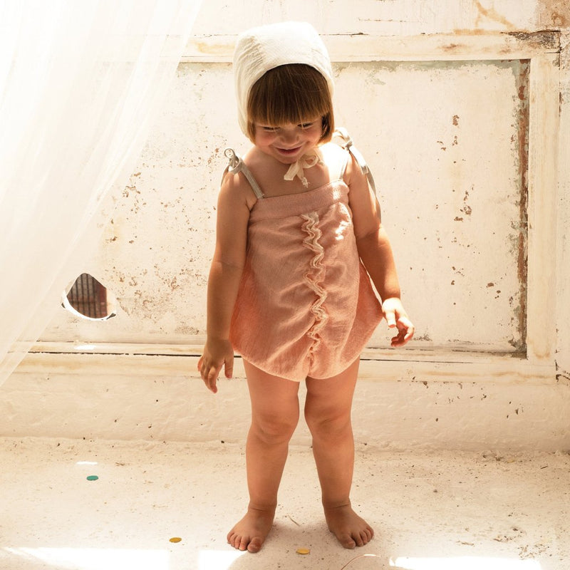 Pink Gathered Romper Suit