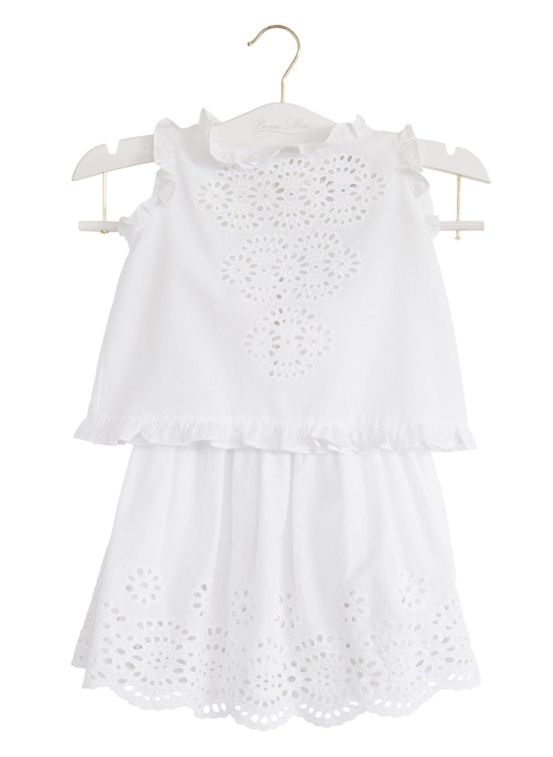 Eyelet Daisy Skirt - White