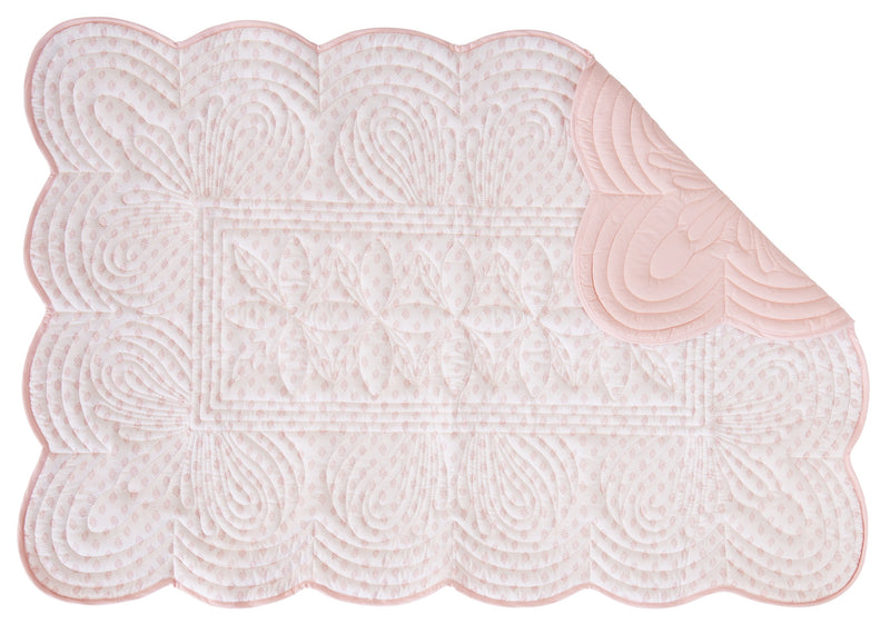 Fern Print Cot Quilt and Pillow Set - Shell Pink