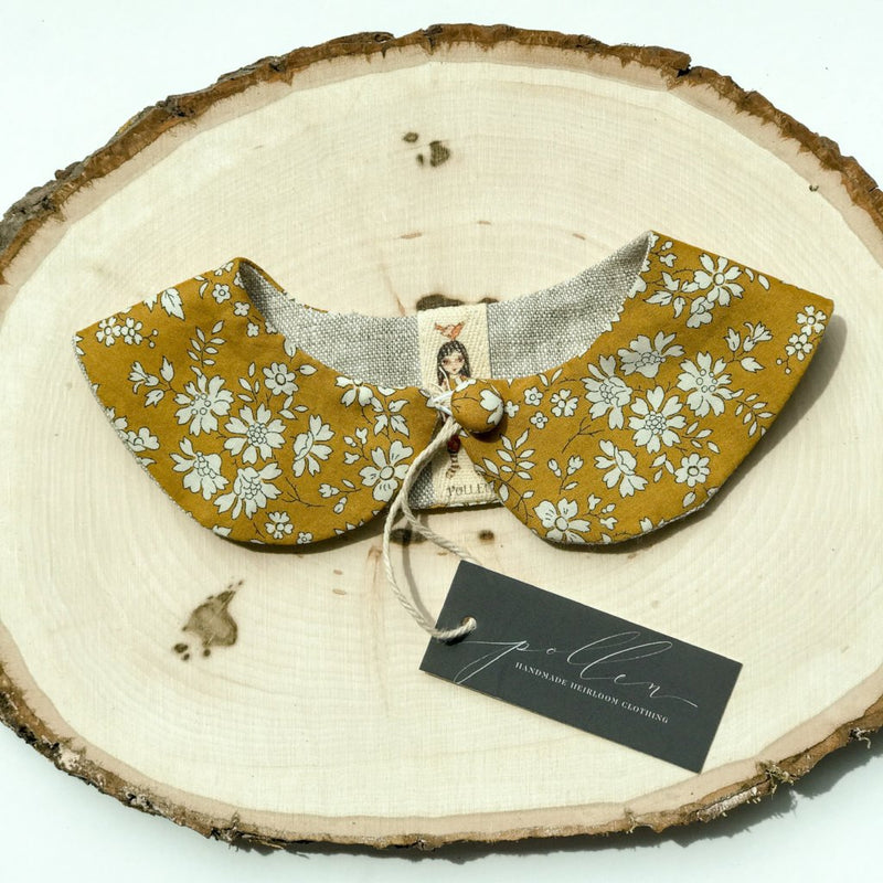 Liberty Print Peter Pan Collar (Capel Mustard)