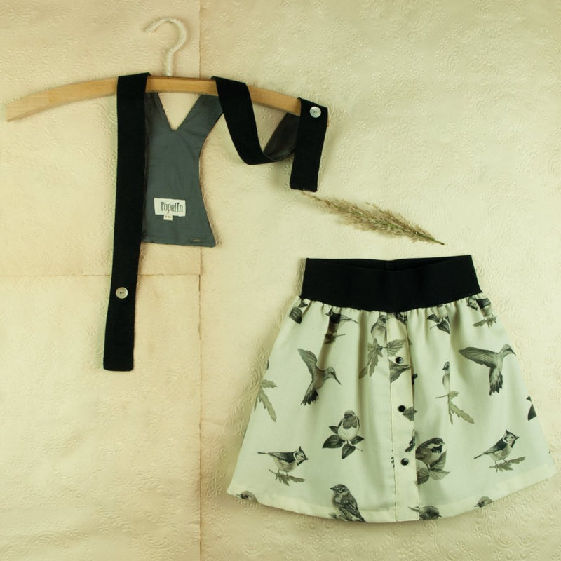Bird Print Skirt With Straps