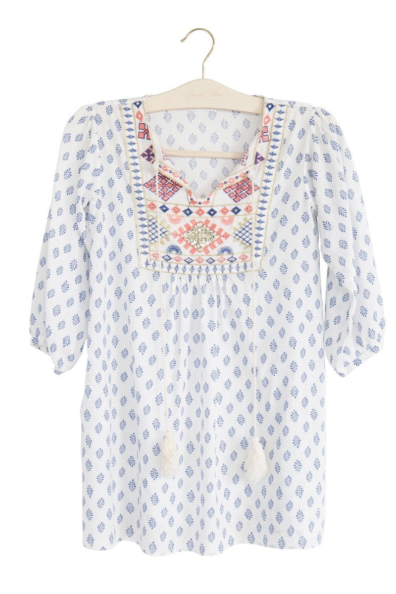 Mummies Moroccan Embroidered Dress - Santorini