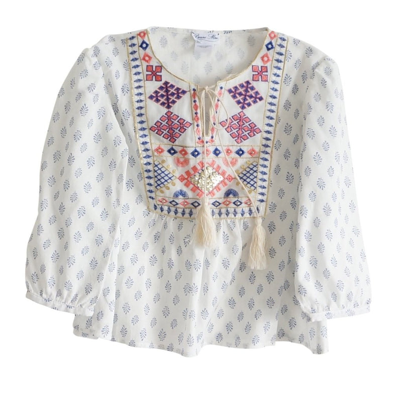 Moroccan Embroidered Girls Top - Santorini