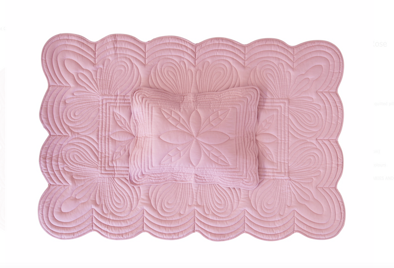 Cot Quilt and Pillow Set - Rose