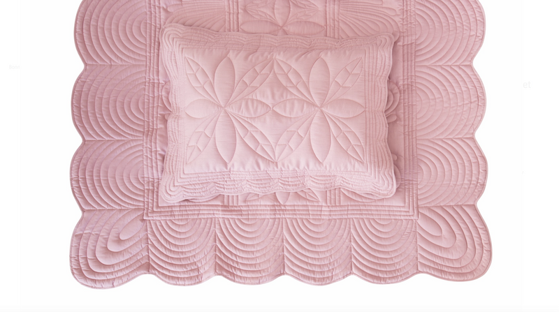 Single Bedspread Quilt and Pillow Set - Rose