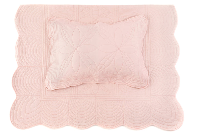 Single Bedspread Quilt and Pillow Set - Shell Pink