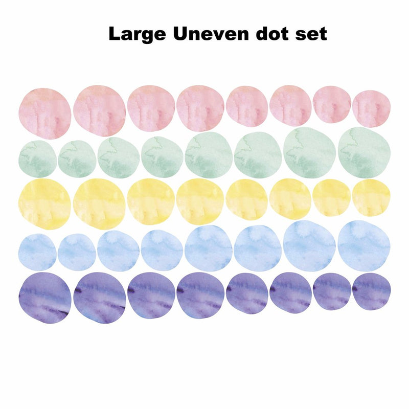 Uneven Pastel Watercolour Dots - Set of 40