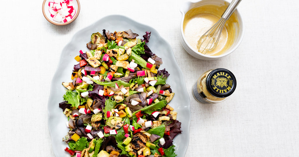 Grilled Vegetable Salad with Creamy Lemon Mustard Dressing