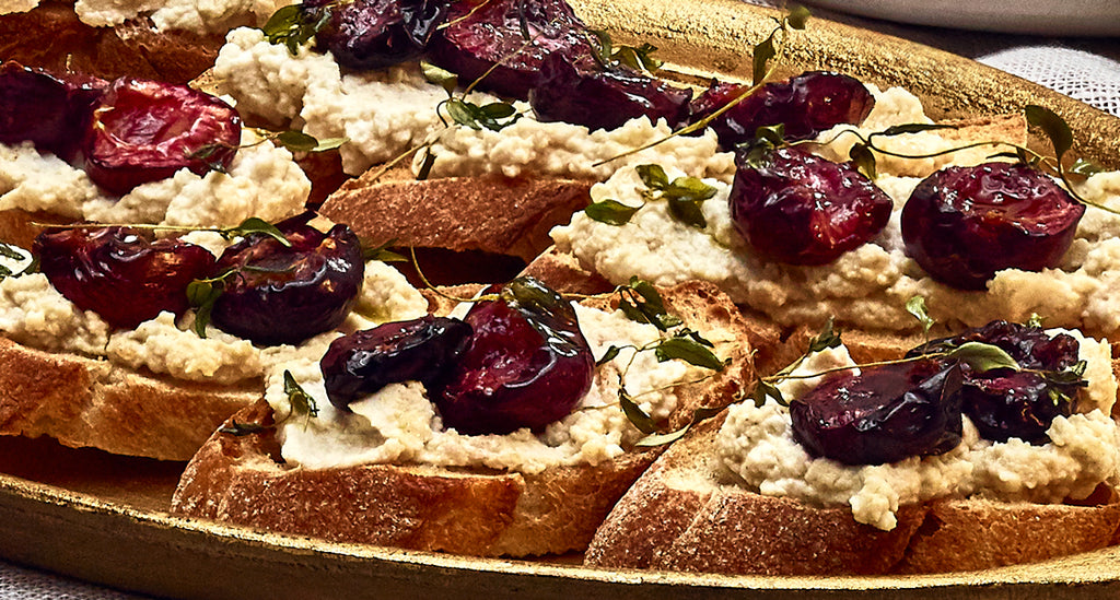 Crostini with Ricotta and Roasted Cherries