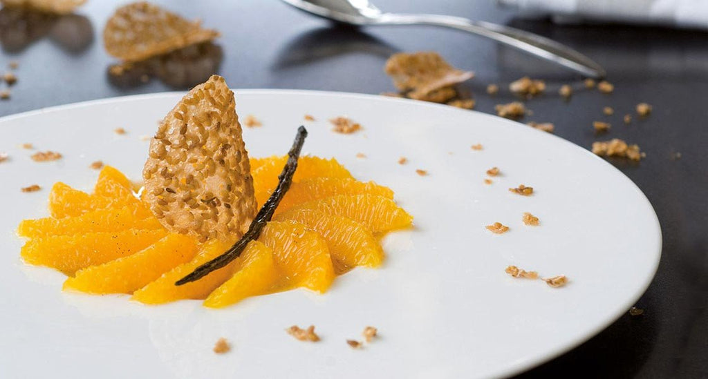 Sesame Snaps with Spiced Orange and Sauternes White Wine Vinegar Dip