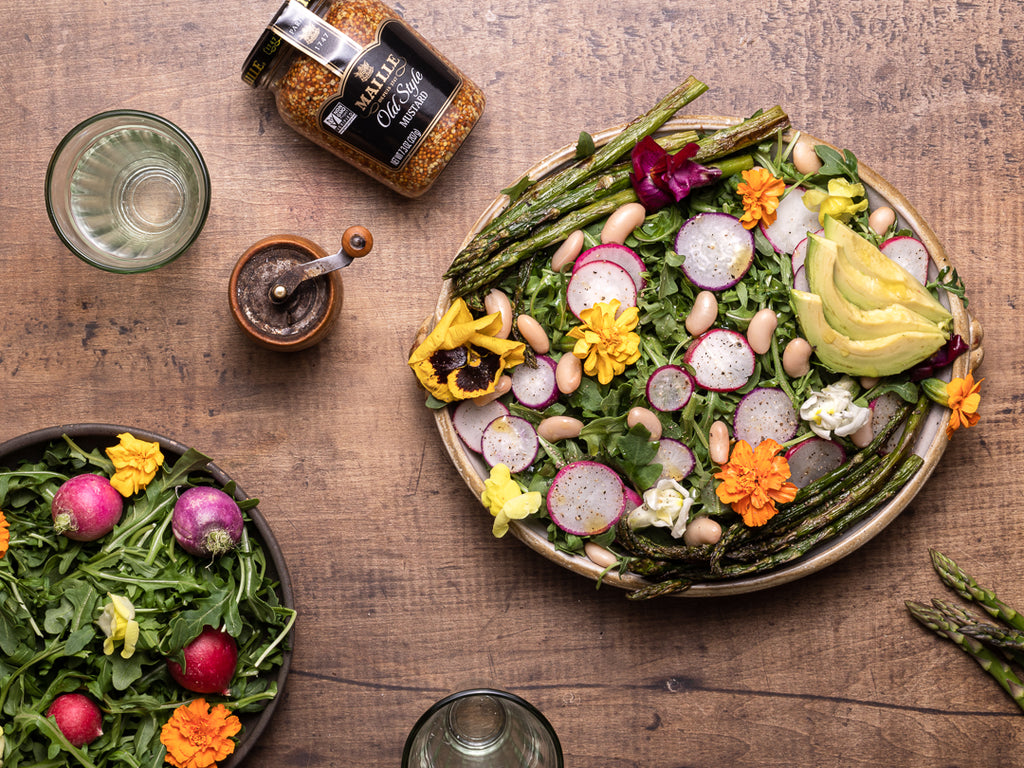 Native Flower Salad with Asparagus and Maille Tarragon Dressing