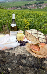 pic nic bread cheese wine Maille mustard