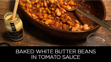 Maille, recipe, baked butter beans in tomato sauce