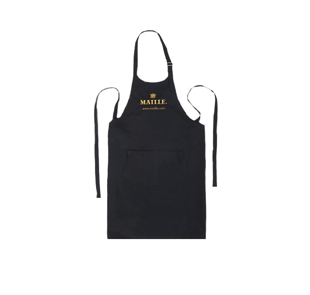 Black Cotton Kitchen Chef Apron with Maille logo