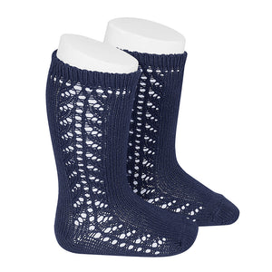 SIDE OPENWORK KNEE-HIGH SOCKS NAVY BLUE