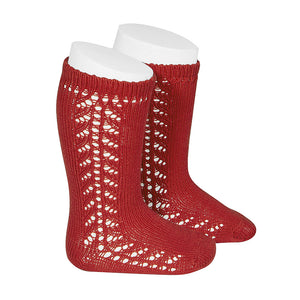 COTTON OPENWORK KNEE-HIGH SOCKS RED