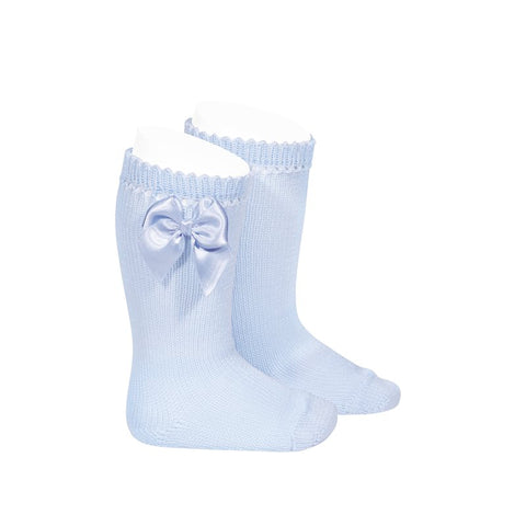 PERLE KNEE HIGH SOCKS WITH BOW BABY BLUE