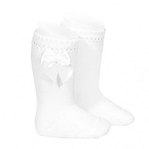 PERLE KNEE HIGH SOCKS WITH BOW WHITE