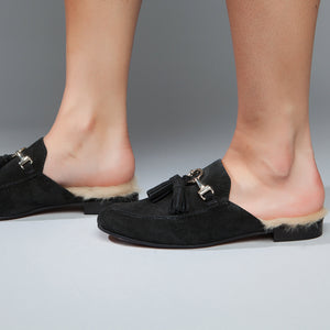 Abelle Black Italian Leather/Faux Fur Slip On