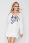 Monoreno Long Sleeve Embroidered Tunic