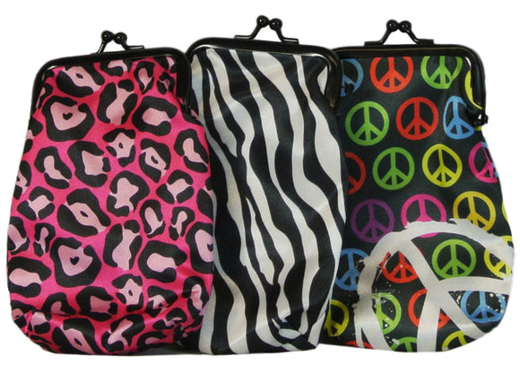 Set of 3 Cigarette Cases in Fun Prints- Cheetah Zebra and Peace Signs