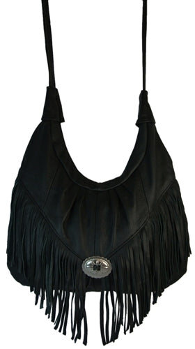 Texcyngoods Premium Leather Hobo Bag Fringed Purse with Concho Adjustable Strap Made in Mexico