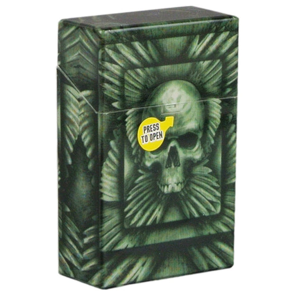 Winged Skull Cigarette Case Hard Non Crush Shell Flip Top