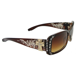 Women's Sunglasses with Antiqued Ornate Cross and Western Flair