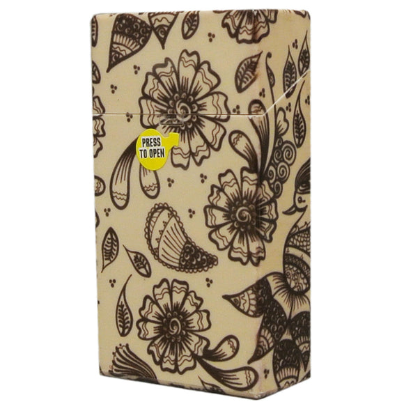 Brown Floral Flip Top Cigarette Case for 100's Hard Non Crush Plastic