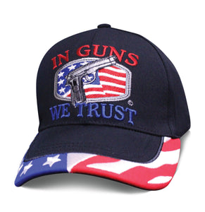 2nd Amendment Mens Hat IN GUNS WE TRUST American Flag Cap