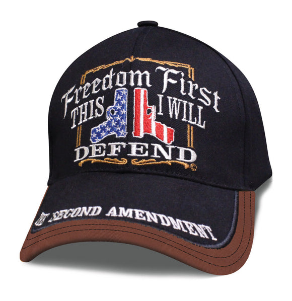 Mens 2nd Amendment Hat FREEDOM FIRST THIS I WILL DEFEND with 2 Guns