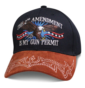 Mens 2nd Amendment Hat THE SECOND AMENDMENT IS MY GUN PERMIT with Eagle and American Flag Baseball Cap
