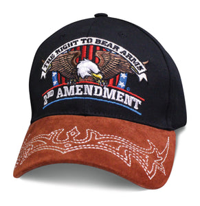 Mens Patriotic Hat THE RIGHT TO BEAR ARMS 2ND AMENDMENT with Eagle and American Flag Baseball Cap